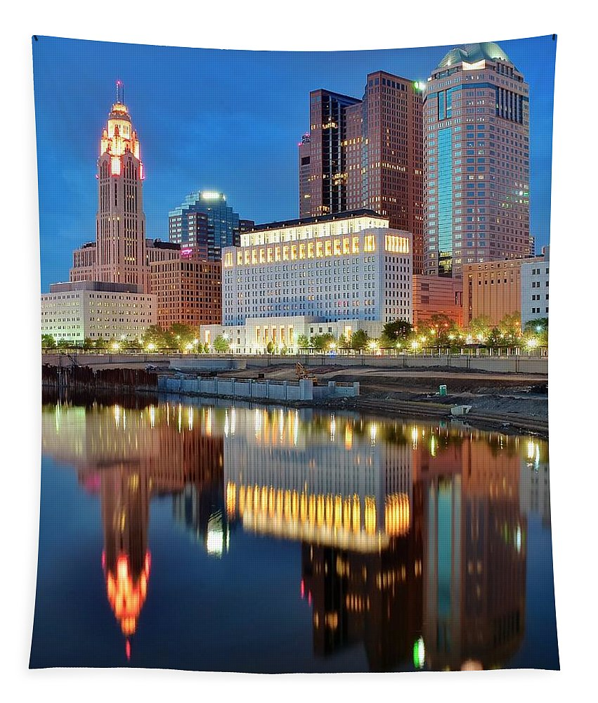 Columbus Tapestry featuring the photograph Evening Reflections by Frozen in Time Fine Art Photography