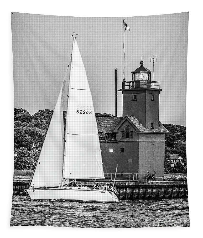 Holland Tapestry featuring the photograph Evening Sail At Holland Light - Bw by Nick Zelinsky