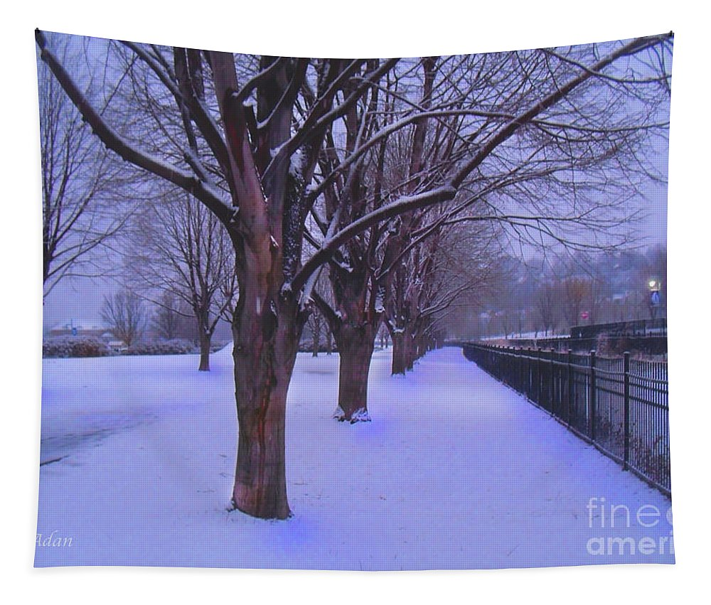 Waterfront Park Tapestry featuring the photograph Evening Snow Path At Waterfront Park Burlington Vermont by Felipe Adan Lerma