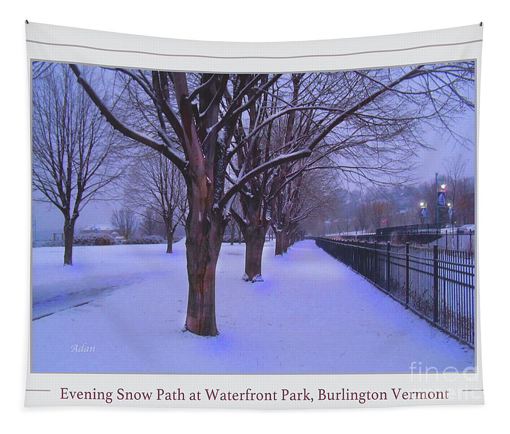 Waterfront Park Tapestry featuring the photograph Evening Snow Path At Waterfront Park Burlington Vermont Poster Greeting Card by Felipe Adan Lerma