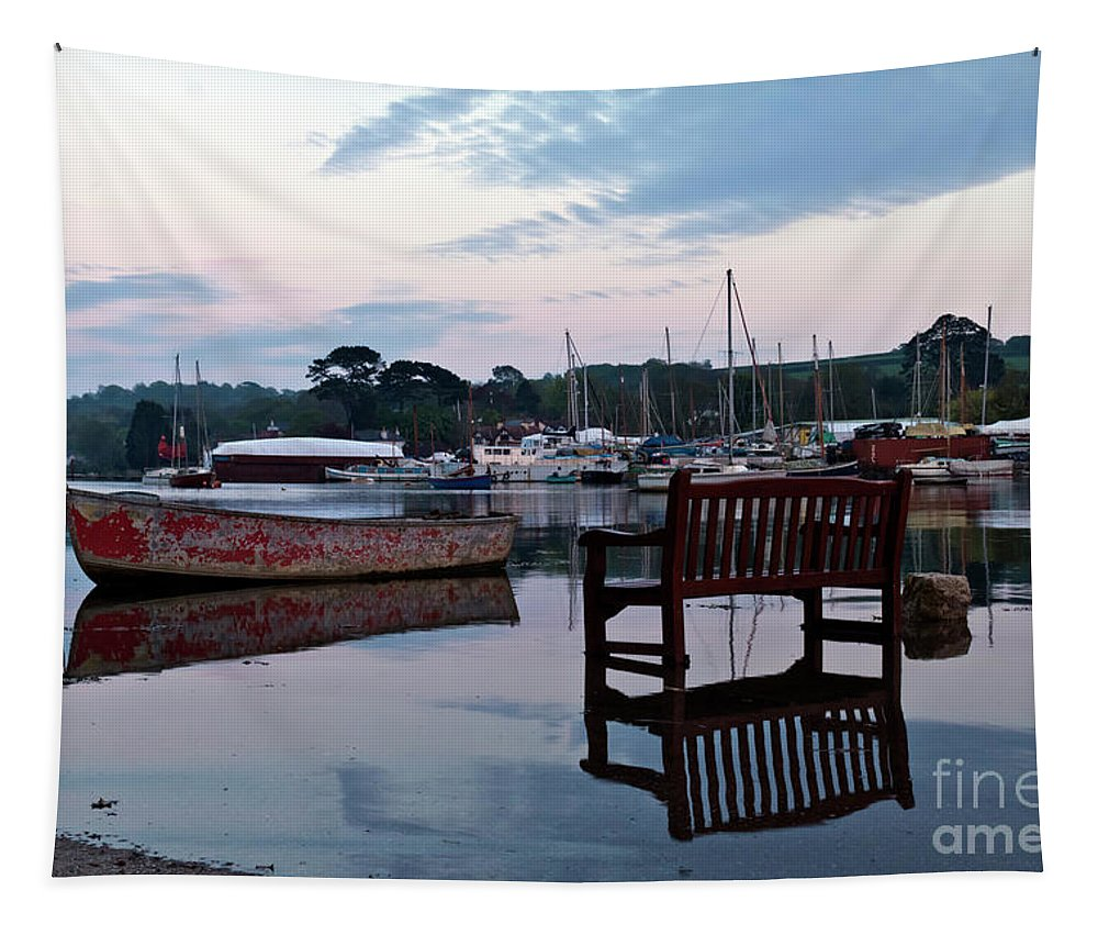 Mylor Creek Tapestry featuring the photograph Evening Spring Tide In Mylor Bridge by Terri Waters