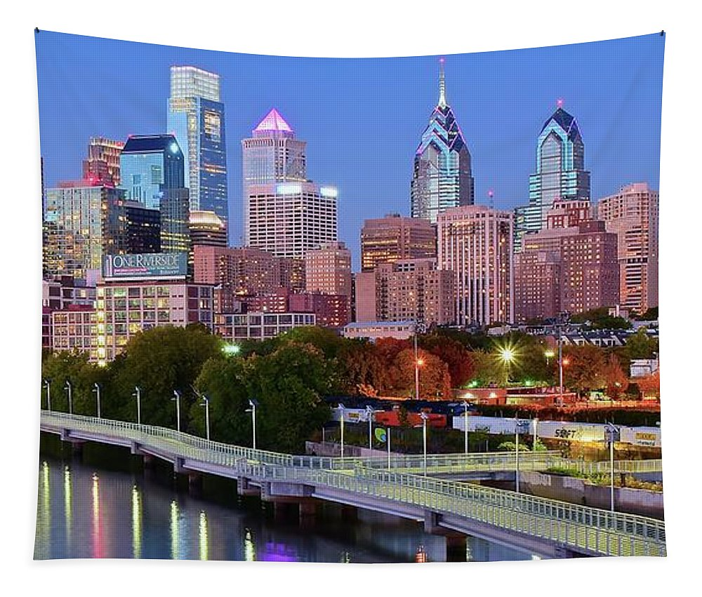 Philadelphia Tapestry featuring the photograph Evening Walk In Philly by Frozen in Time Fine Art Photography