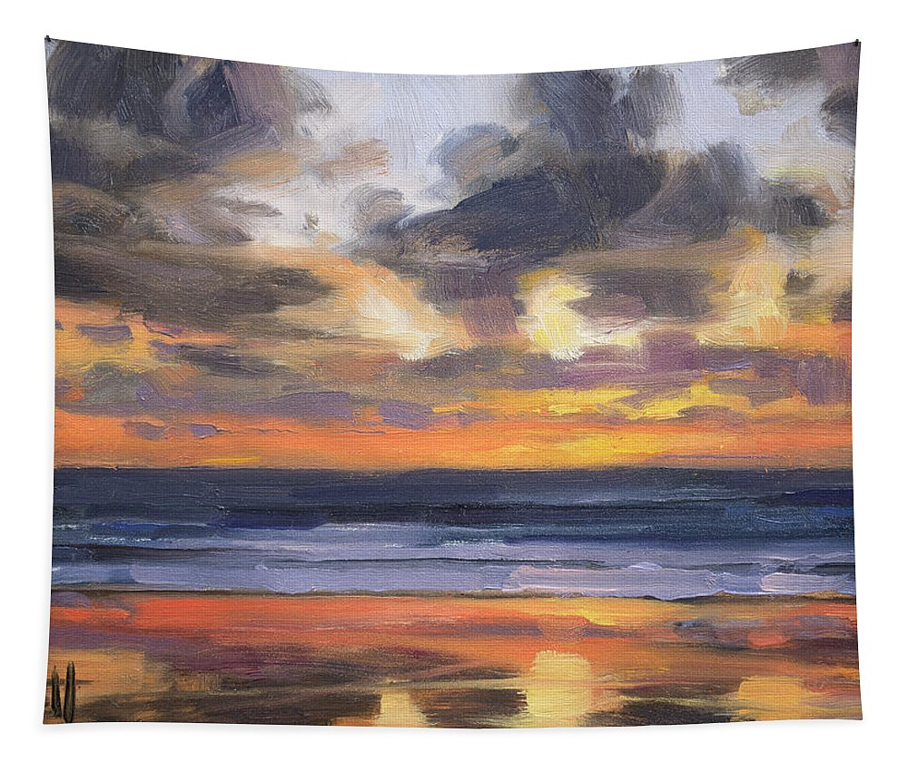 Coast Tapestry featuring the painting Eventide by Steve Henderson