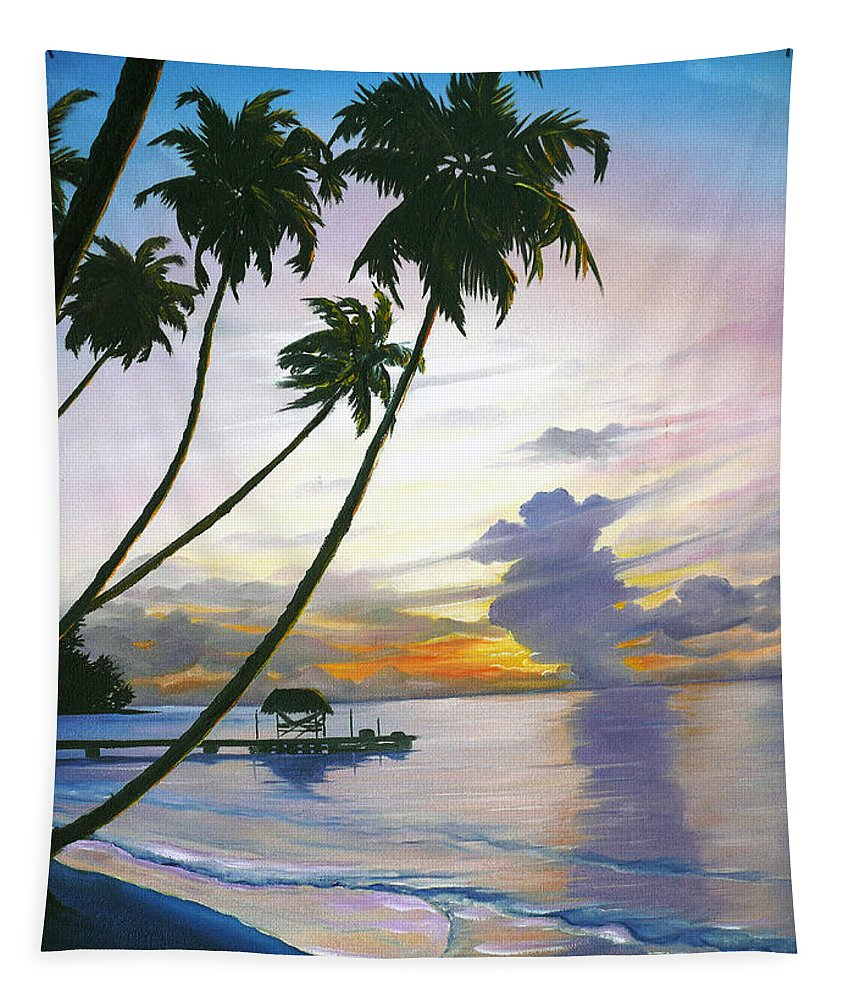 Ocean Painting Seascape Painting Beach Painting Sunset Painting Tropical Painting Tropical Painting Palm Tree Painting Tobago Painting Caribbean Painting Original Oil Of The Sun Setting Over Pigeon Point Tobago Tapestry featuring the painting Eventide Tobago by Karin Dawn Kelshall- Best