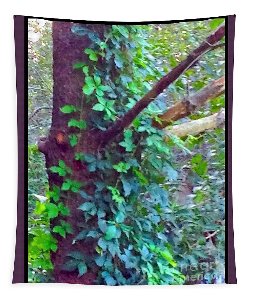 Evergreen Tapestry featuring the digital art Evergreen Tree With Green Vine by Debra Lynch