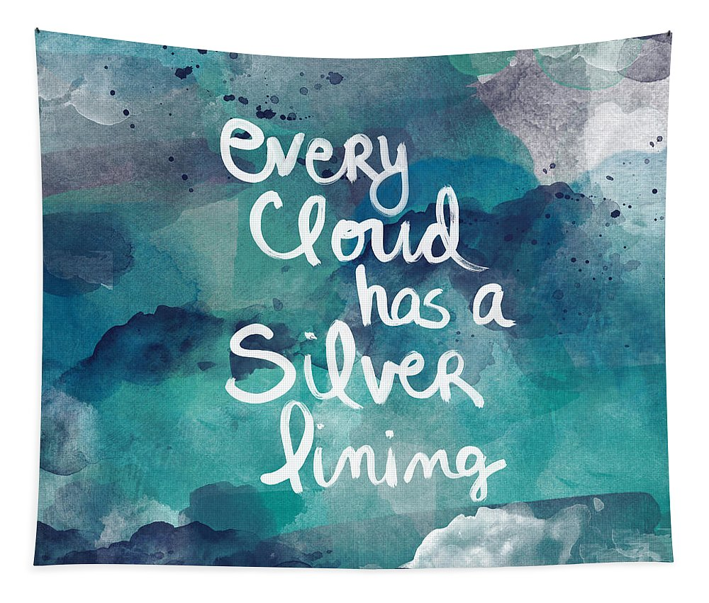 Cloud Tapestry featuring the painting Every Cloud by Linda Woods