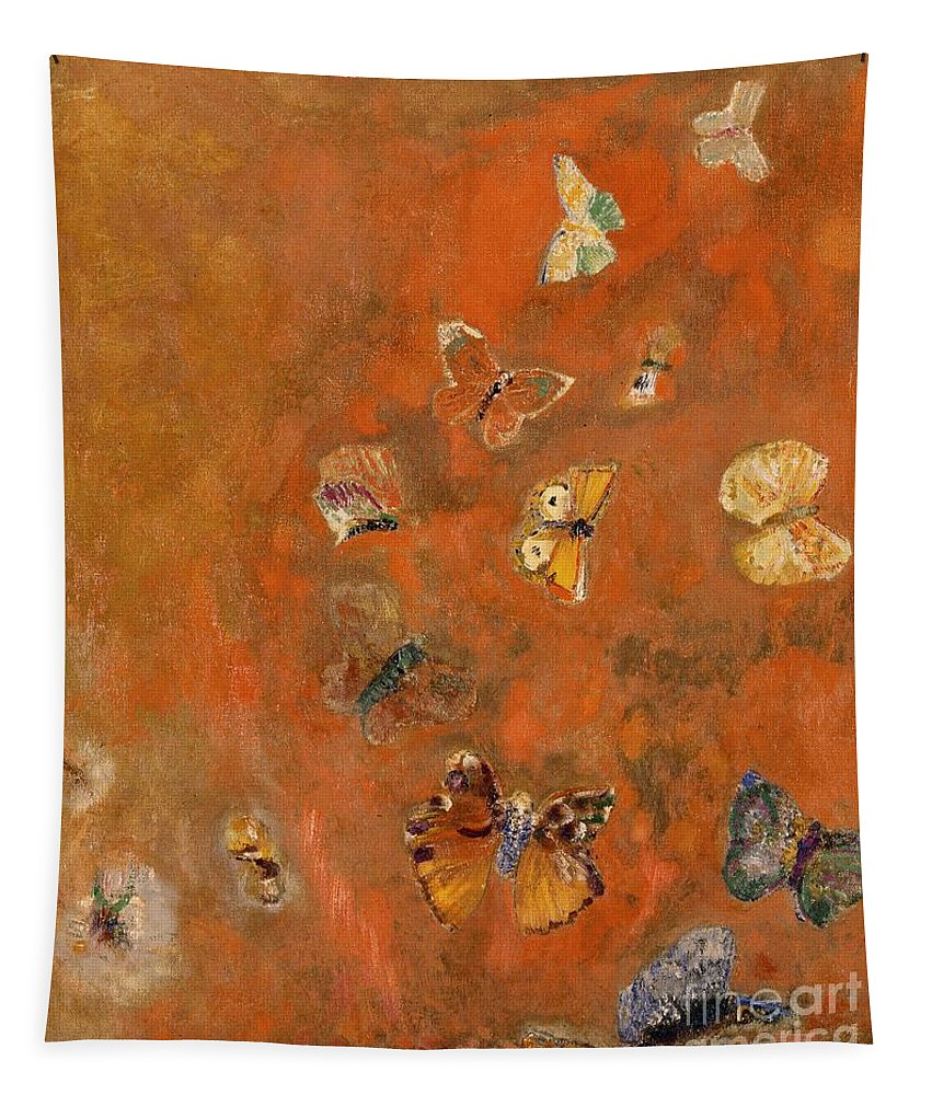 Evocation Tapestry featuring the painting Evocation Of Butterflies by Odilon Redon