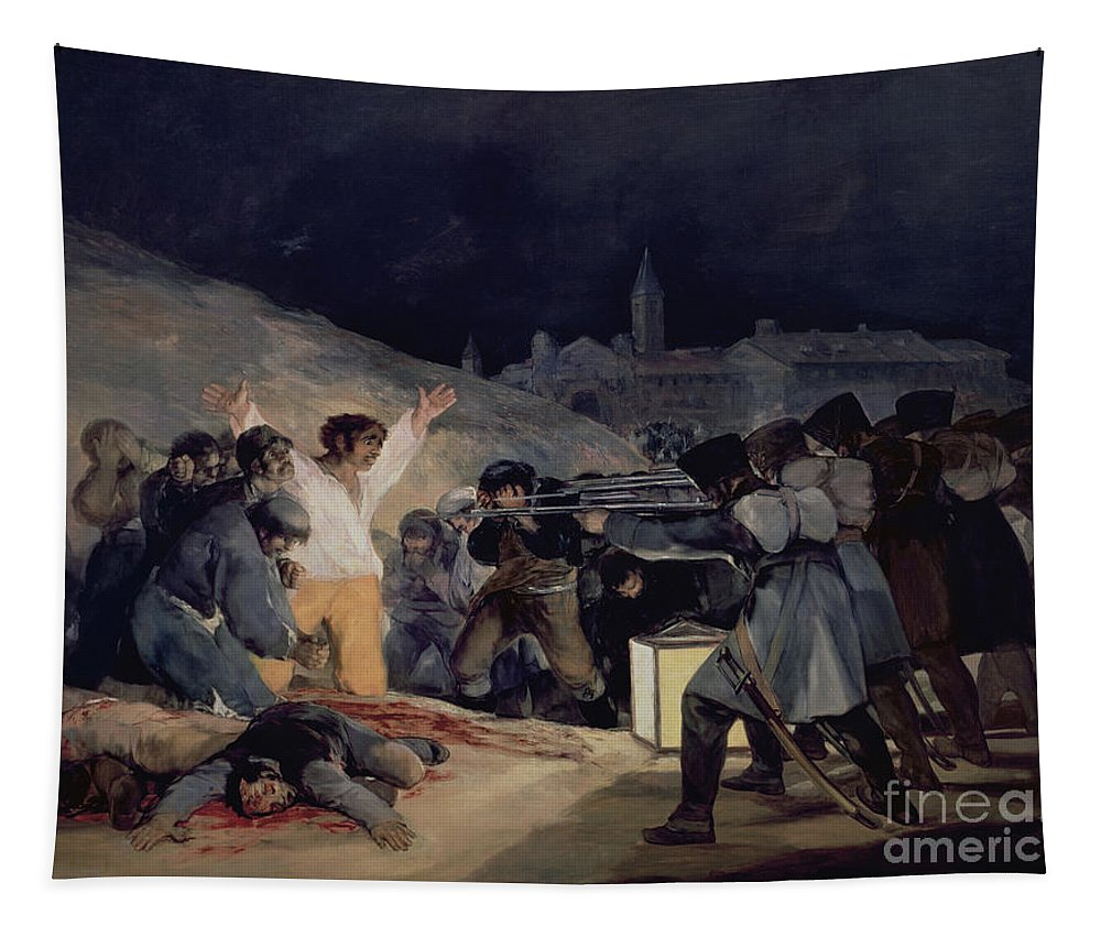 Execution Tapestry featuring the painting Execution Of The Defenders Of Madrid by Goya
