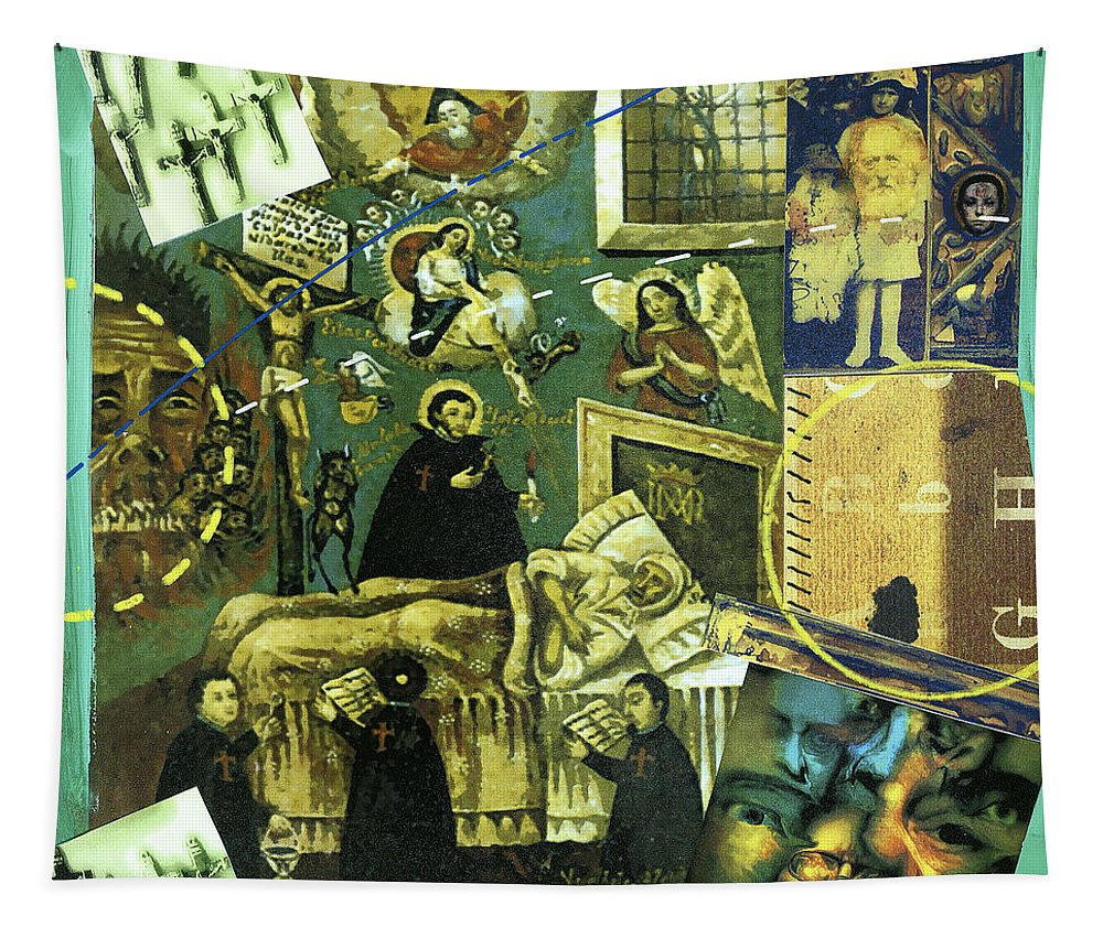 Collage Tapestry featuring the painting Exorcism by Dominic Piperata