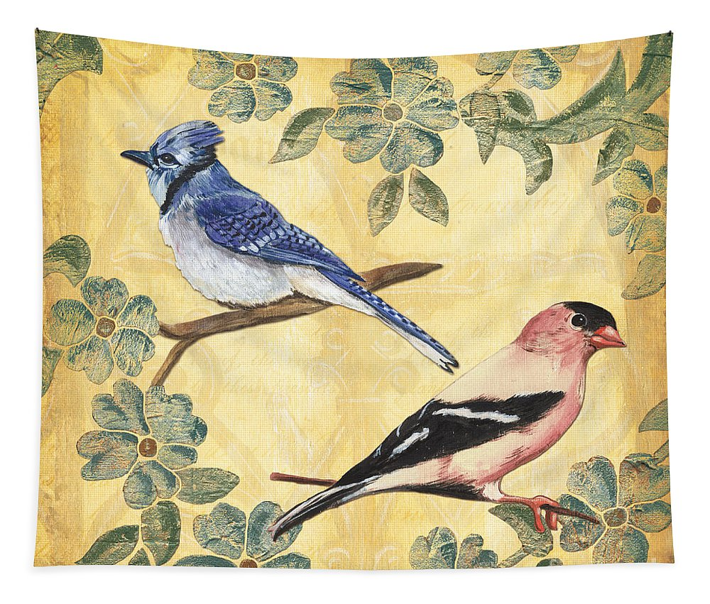 Birds Tapestry featuring the painting Exotic Bird Floral And Vine 1 by Debbie DeWitt