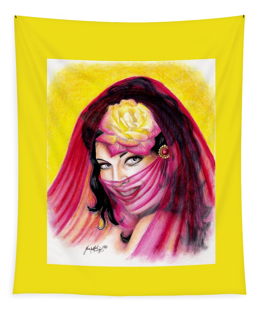 Rose Tapestry featuring the drawing Exotic Rose by Scarlett Royal