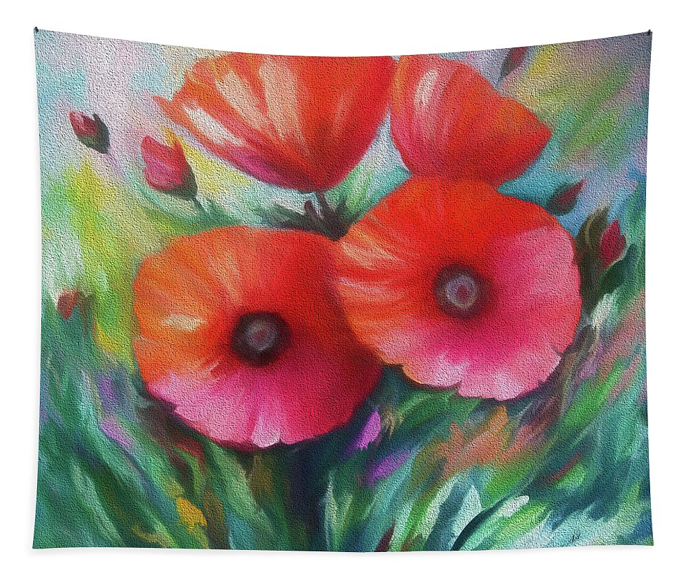Poppies Tapestry featuring the painting Expressionist Poppies by OLena Art Brand