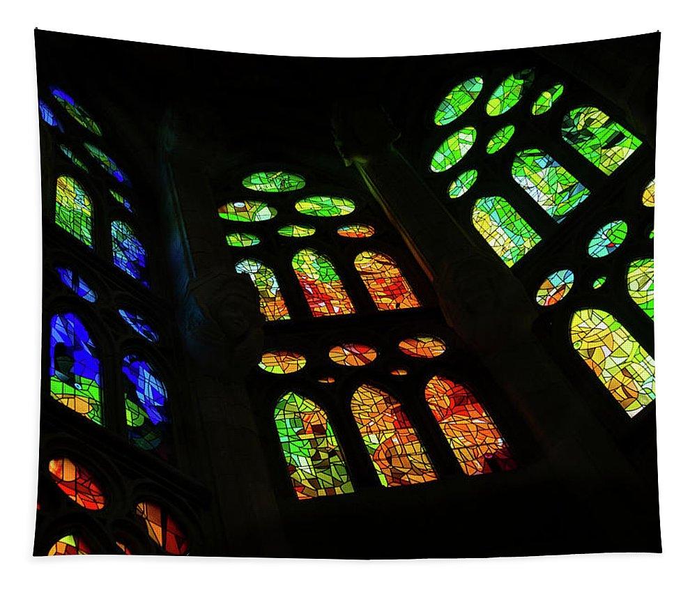 Georgia Mizuleva Tapestry featuring the photograph Exuberant Stained Glass Windows by Georgia Mizuleva