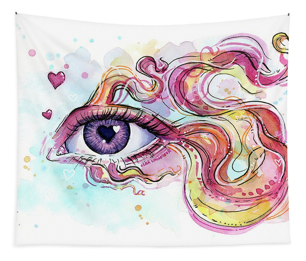 Betta Tapestry featuring the painting Eye Fish Surreal Betta by Olga Shvartsur