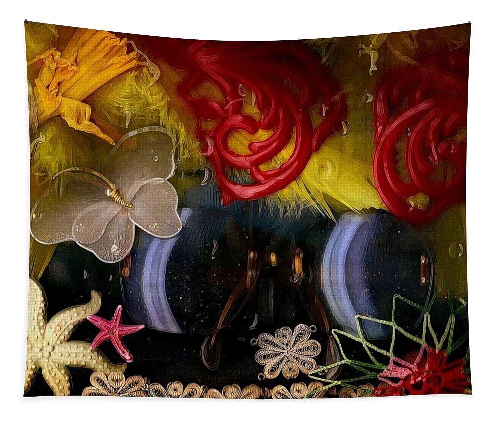 Seafish Tapestry featuring the mixed media Eye Glasses In Popart With Style by Pepita Selles