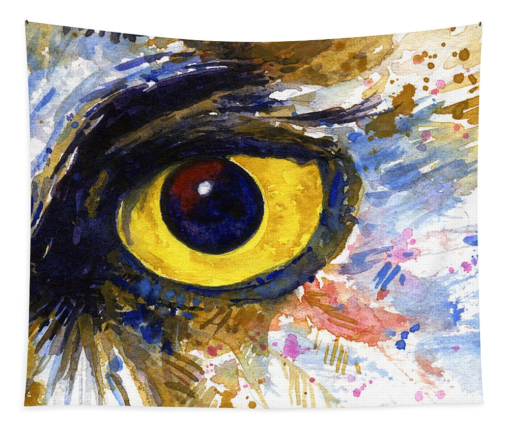 Owls Tapestry featuring the painting Eyes of Owl's No.6 by John D Benson