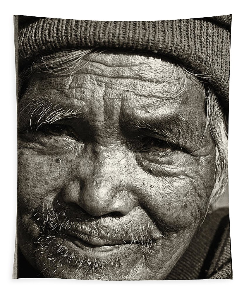 80-90 Yrs; Aborigine; Age; Aging; Art; Asia; Asian; Awe; Banaue; Close-up; Contemplation; Decor; Decoration; Detail; Fine Art; Glisten; Ifugao; Ifugao Province; Indian; Inspirational; Journey; Life; Loneliness; Male; Man; Memory; Milestone; Native; Old; One; Philippines; Photographic; Photography; Portrait; Reflection; Reverence; Spirituality; Toned; Toned Black And White; Tranquility; Travel Destinations; Tribal; Vertical; Weathered; World Heritage Sight; Worn; Wrinkled; Zen Tapestry featuring the photograph Eyes Of Soul 2 by Skip Nall