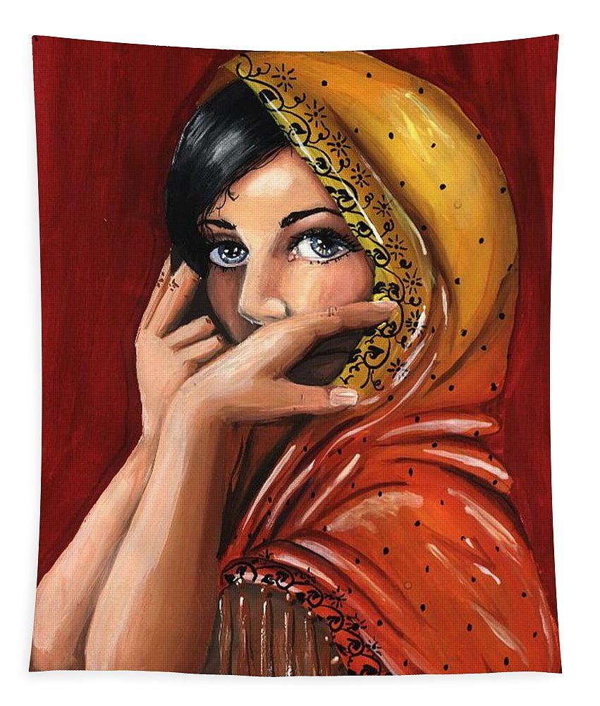 Warm Colors Tapestry featuring the painting Eyes by Scarlett Royal