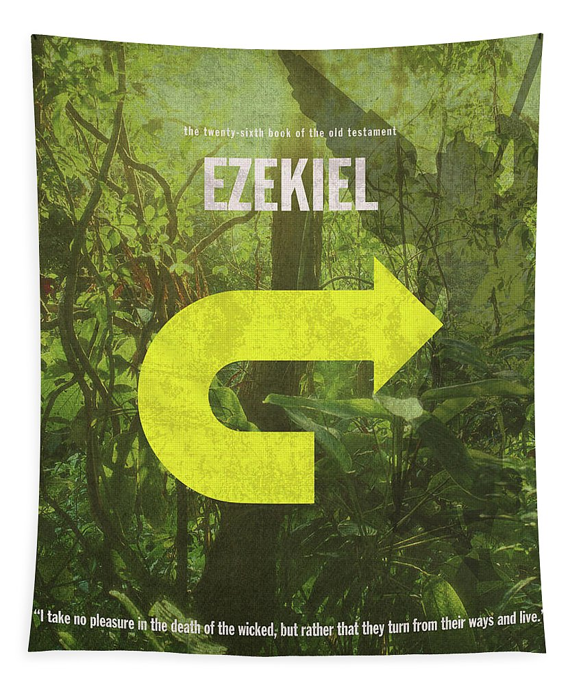 Ezekiel Tapestry featuring the mixed media Ezekiel Books Of The Bible Series Old Testament Minimal Poster Art Number 26 by Design Turnpike