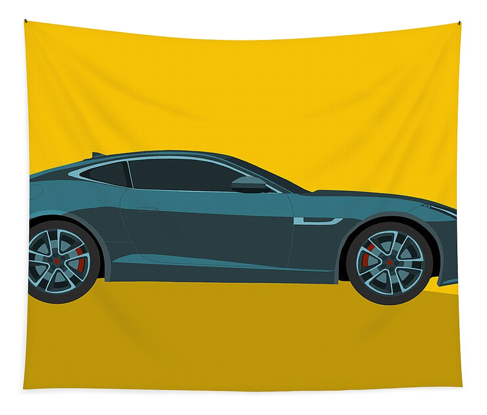 Jaguar Tapestry featuring the digital art F Type by Matt Malloy