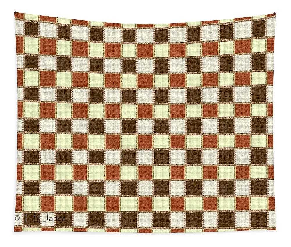Fabric Design Mushroom Checkerboard Abstract #2 Tapestry featuring the photograph Fabric Design Mushroom Checkerboard Abstract #2 by Tom Janca