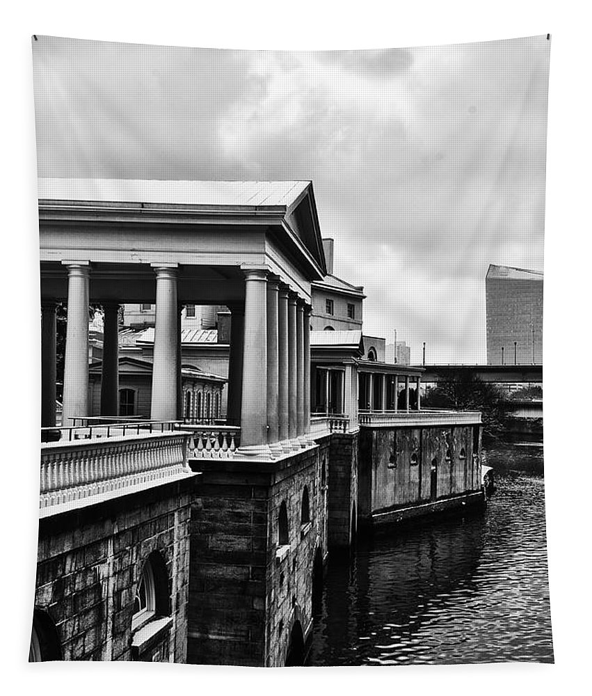Philadelphia Tapestry featuring the photograph Fairmount Water Works In Black And White by Bill Cannon