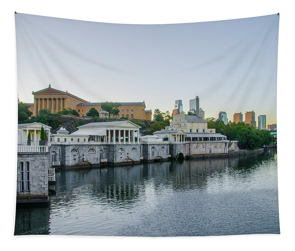 Fairmount Tapestry featuring the photograph Fairmount Waterworks And Philadelphia Art Museum In The Morning by Bill Cannon