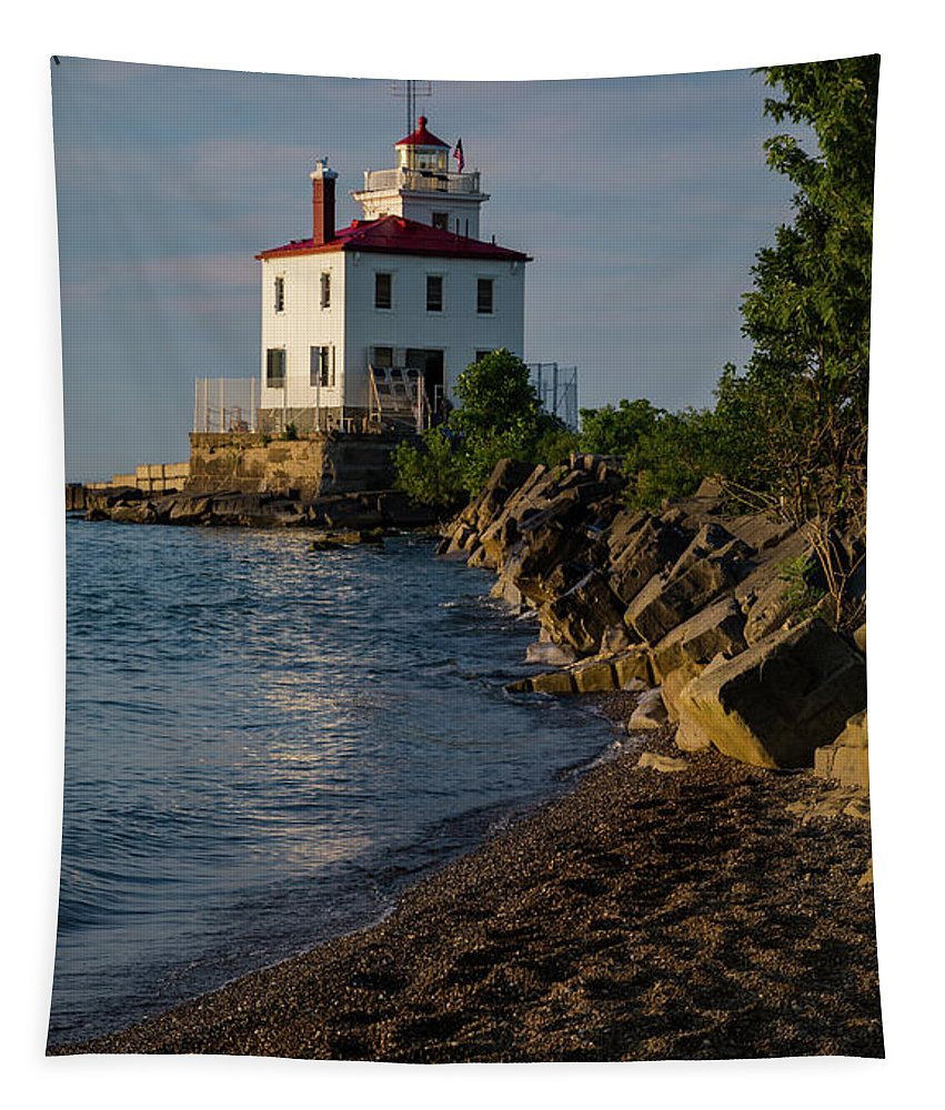 Panoramic Lighthouse Tapestry featuring the photograph Fairport Harbor Lighthouse Panoramic by Dale Kincaid