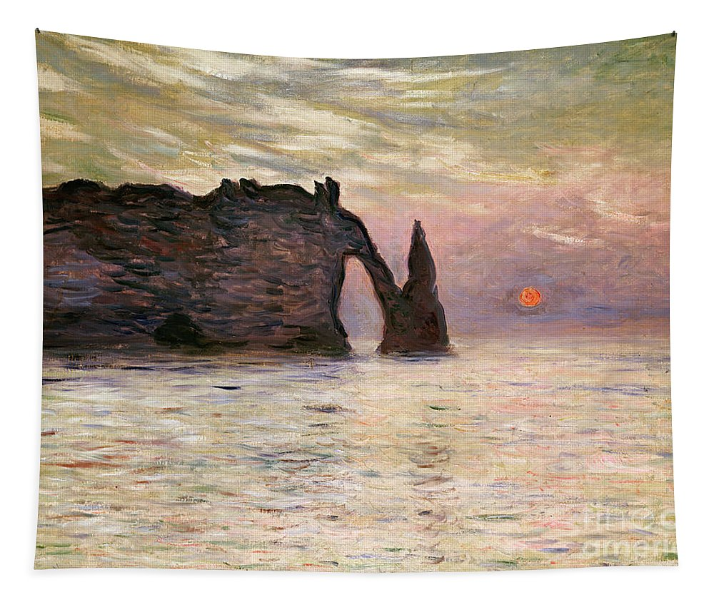 Falaise Tapestry featuring the painting Falaise Detretat by Claude Monet