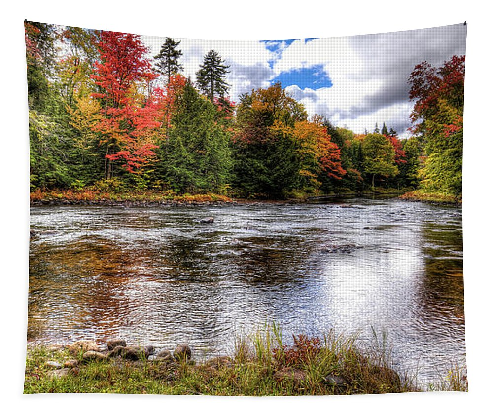 Landscapes Tapestry featuring the photograph Fall Colors On The Moose River by David Patterson