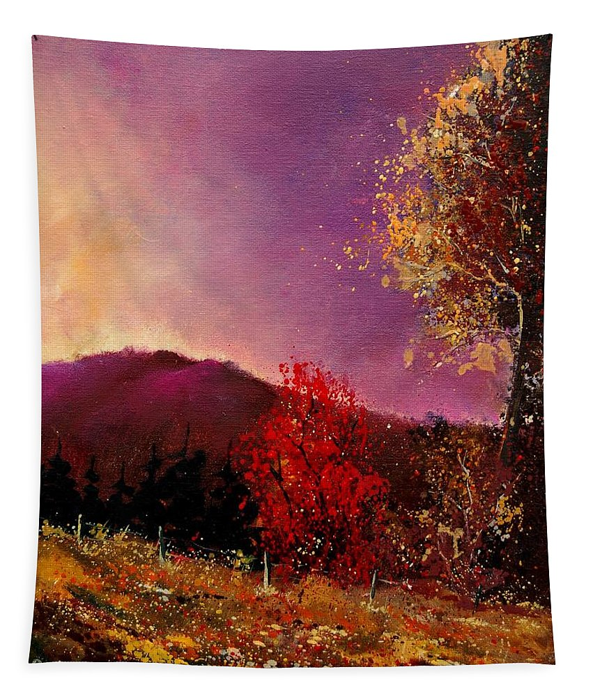 River Tapestry featuring the painting Fall Colors by Pol Ledent