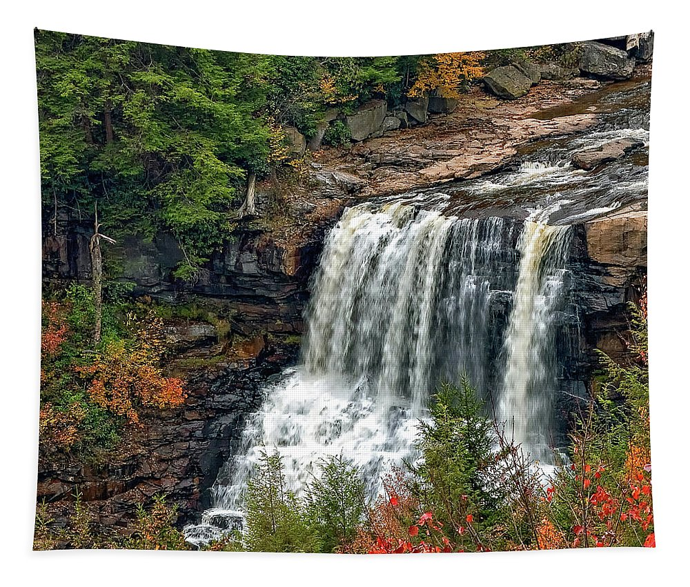 West Virginia Tapestry featuring the photograph Fall Falls 2 by Steve Harrington