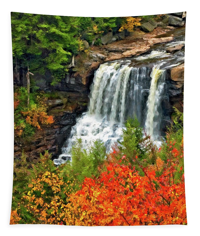 West Virginia Tapestry featuring the photograph Fall Falls by Steve Harrington