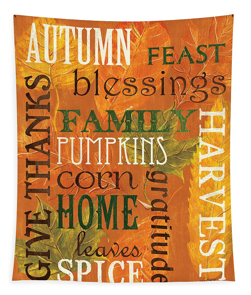 Fall Tapestry featuring the painting Fall Typography 1 by Debbie DeWitt