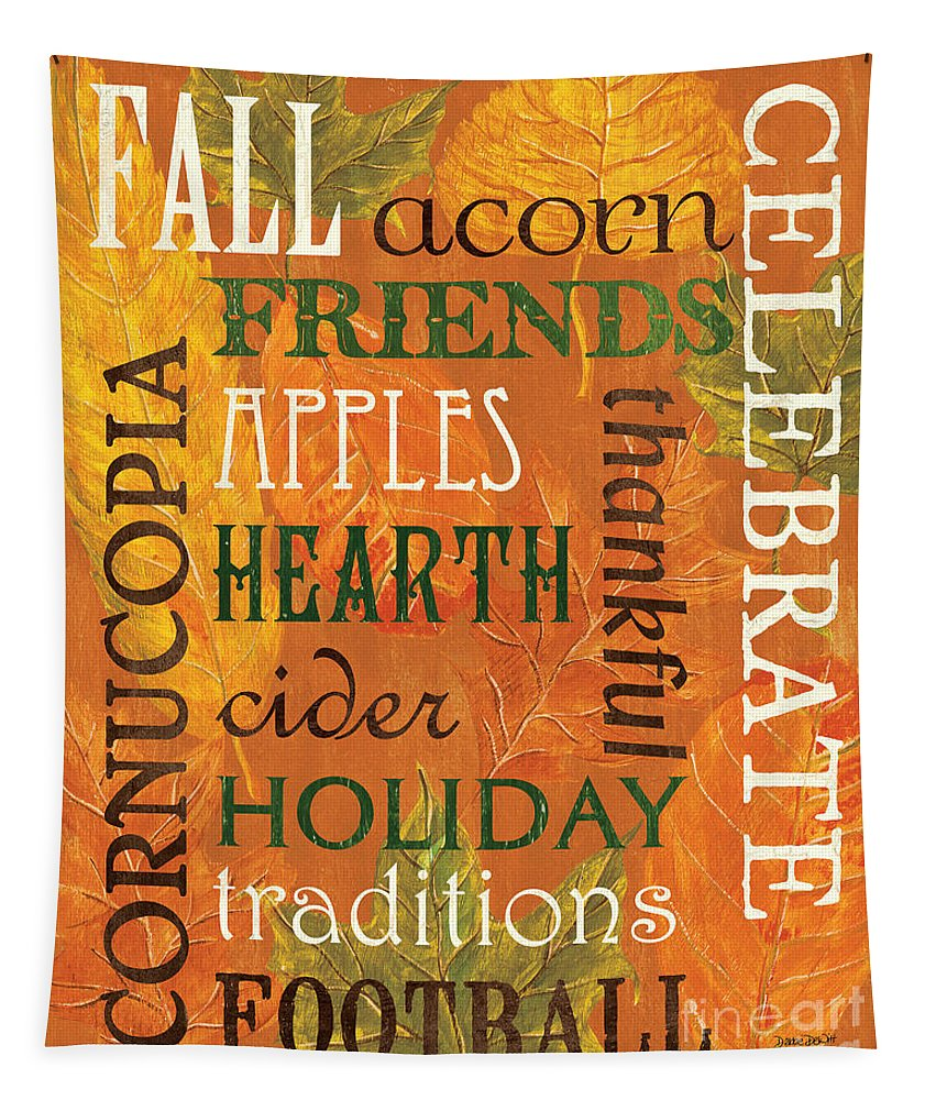 Fall Tapestry featuring the painting Fall Typography 2 by Debbie DeWitt