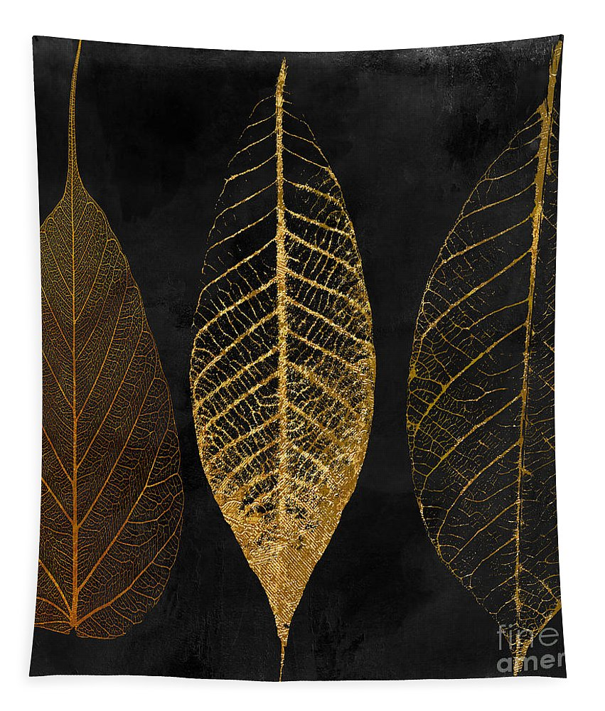 Leaf Tapestry featuring the painting Fallen Gold II Autumn Leaves by Mindy Sommers