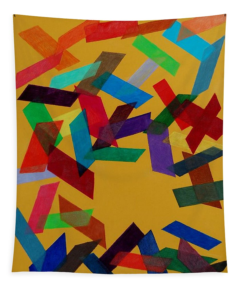Abstract Tapestry featuring the mixed media Falling by Charla Van Vlack