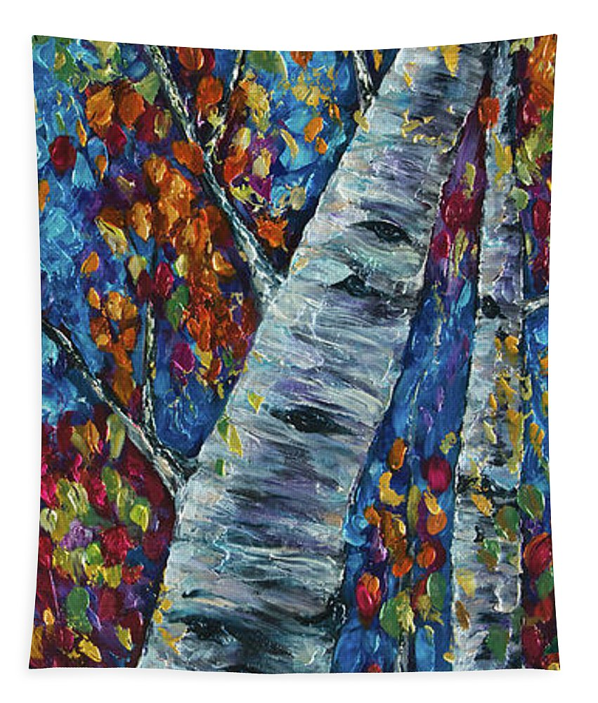 Fall In The Rockies Tapestry featuring the painting Falll In Rockies - Left Panel by OLena Art Brand