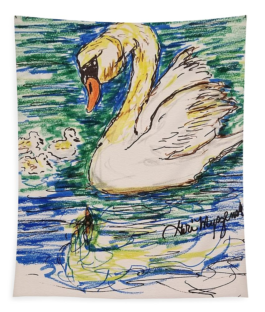 Swan Tapestry featuring the drawing Family Of Swanns by Geraldine Myszenski