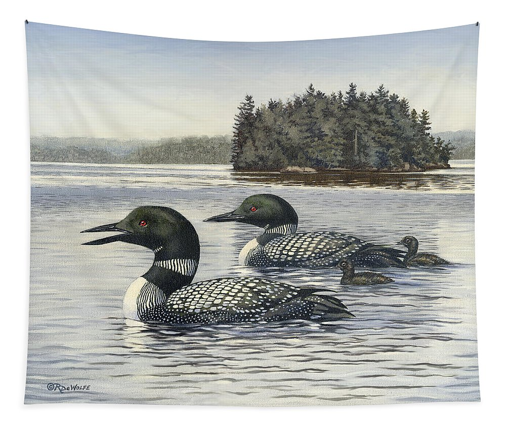 Common Loon Tapestry featuring the painting Family Outing by Richard De Wolfe