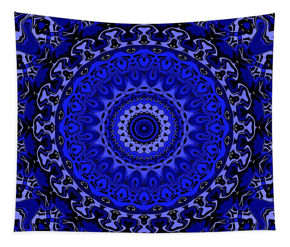 Digital Tapestry featuring the digital art Fancy Cartoon Blues by Joy McKenzie