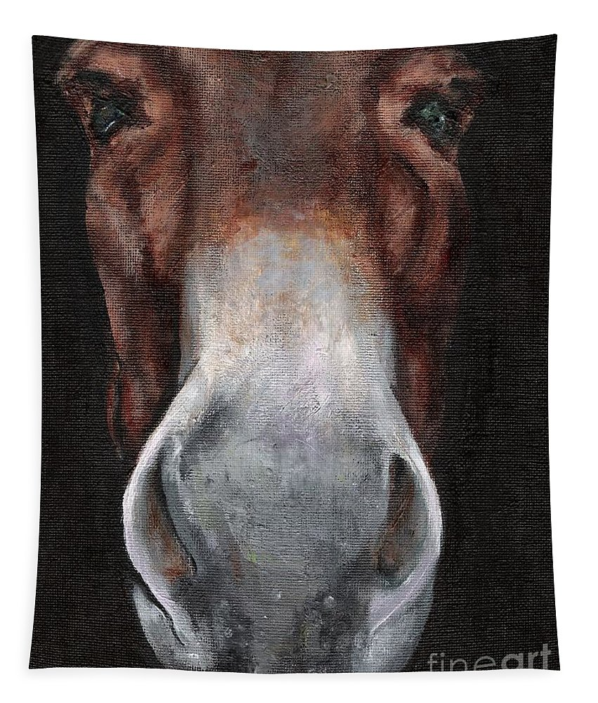Mule Tapestry featuring the painting Fannie by Frances Marino