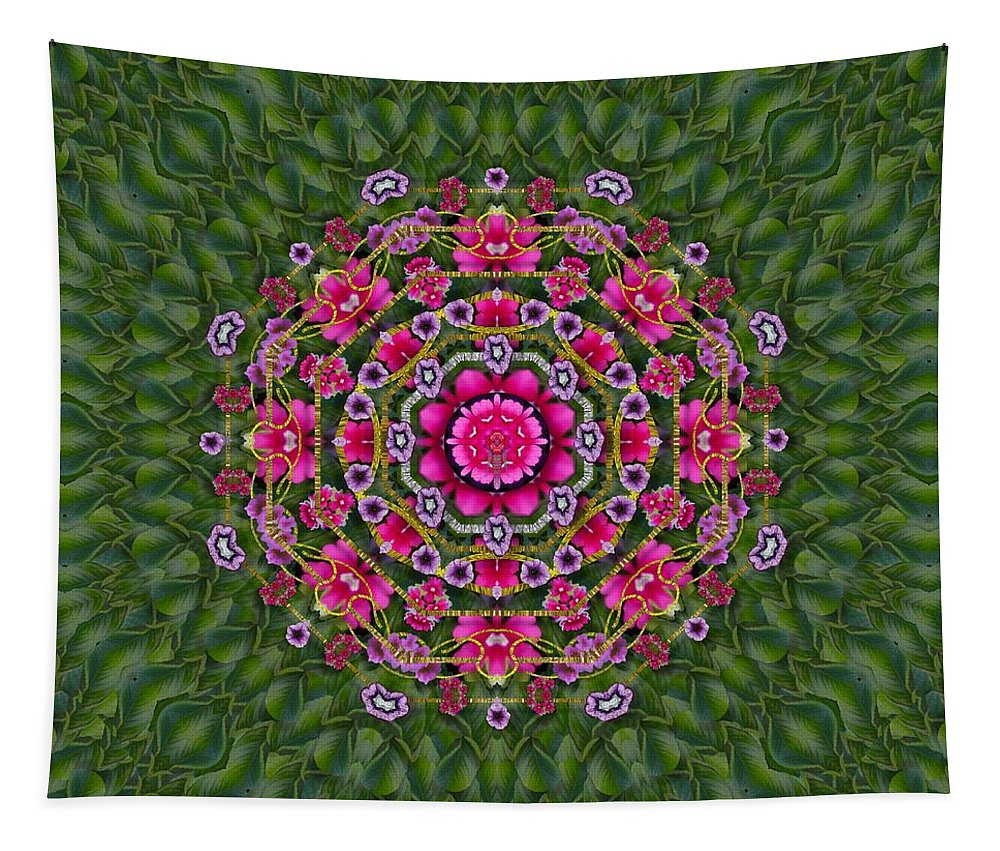 Floral Tapestry featuring the mixed media Fantasy Floral Wreath In The Green Summer Leaves by Pepita Selles