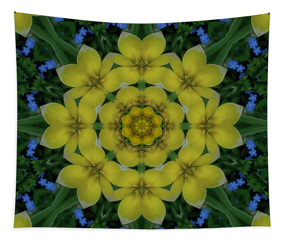 Tapestry featuring the mixed media Fantasy Plumeria Decorative Real And Mandala by Pepita Selles