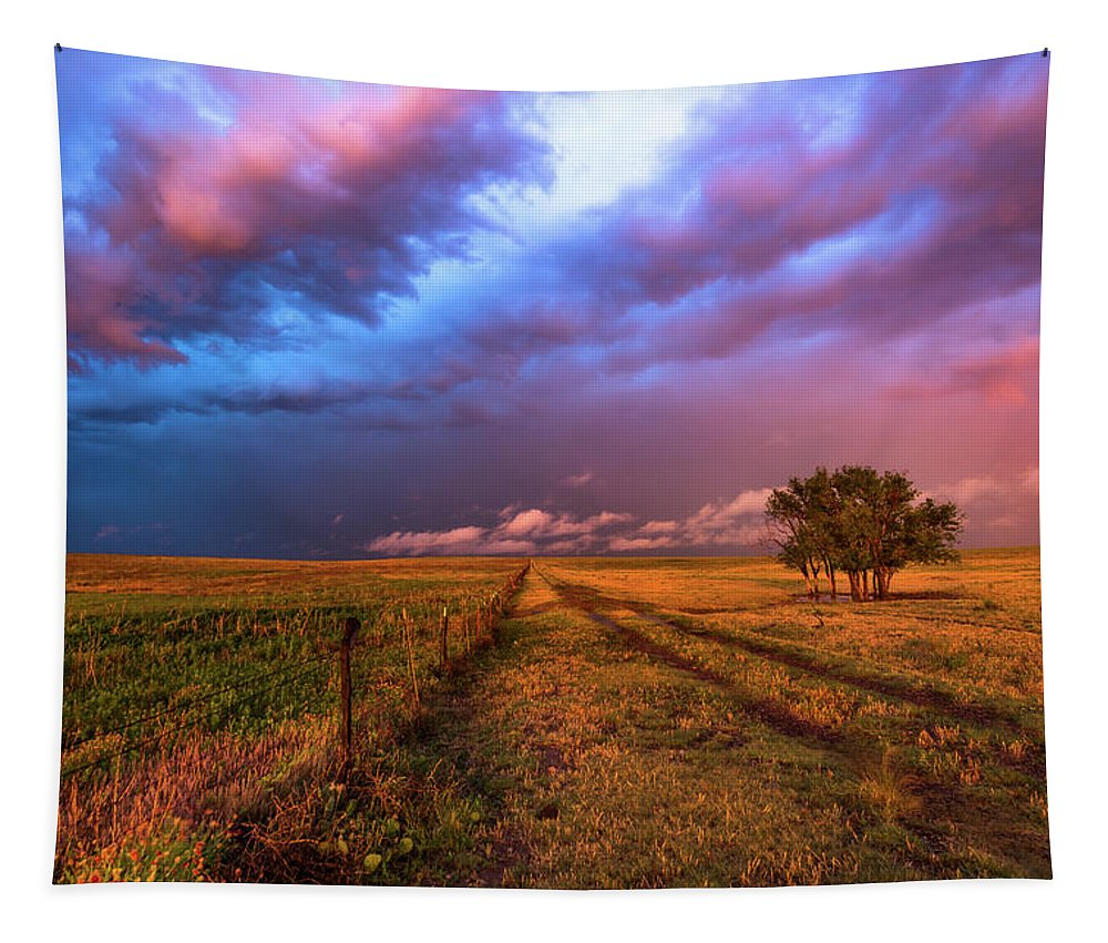 Oklahoma Tapestry featuring the photograph Far And Away - Open Prairie Under Colorful Sky In Oklahoma Panhandle by Southern Plains Photography