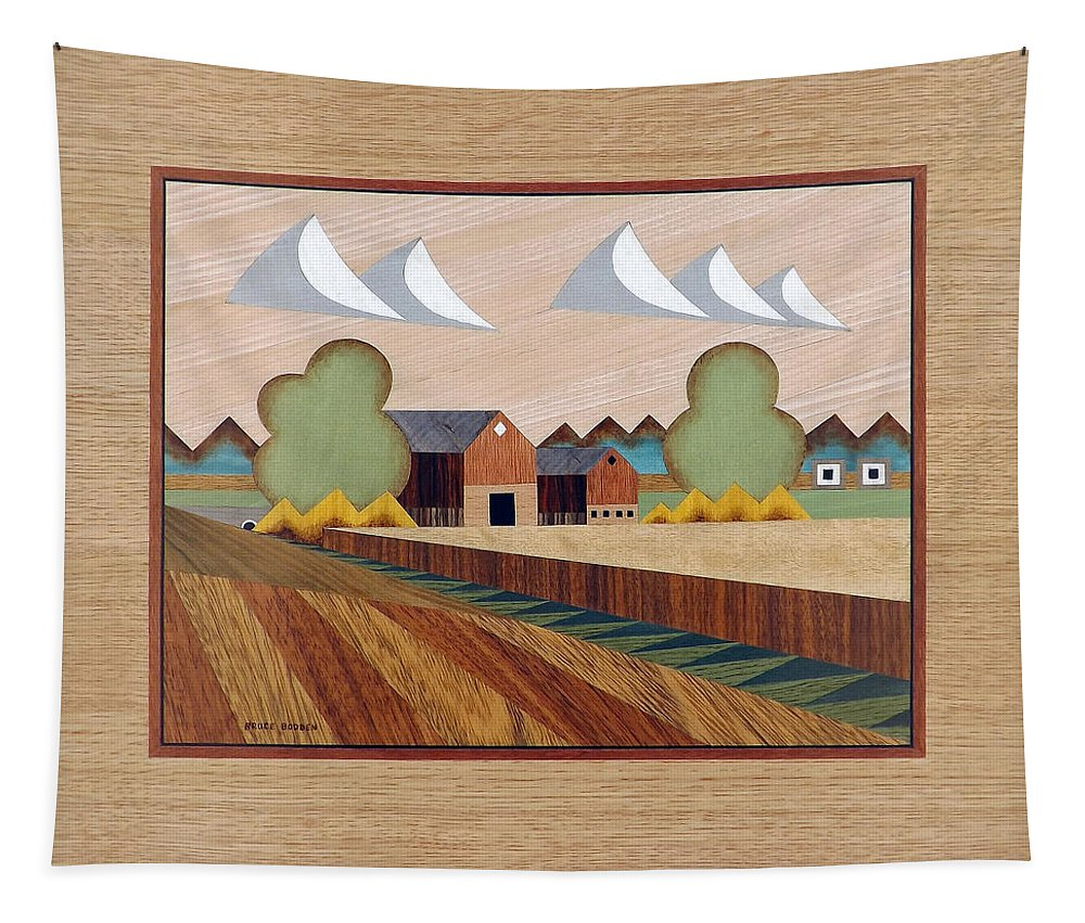 Bruce Bodden Tapestry featuring the painting Farm By Ripon-marquetry by Bruce Bodden