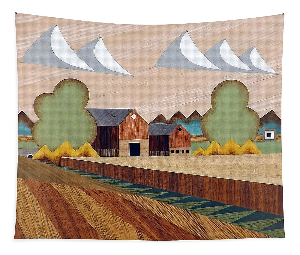 Bruce Bodden Tapestry featuring the painting Farm By Ripon -marquetry-image by Bruce Bodden