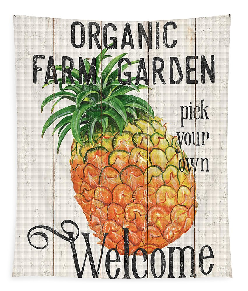 Pineapple Tapestry featuring the painting Farm Garden 1 by Debbie DeWitt