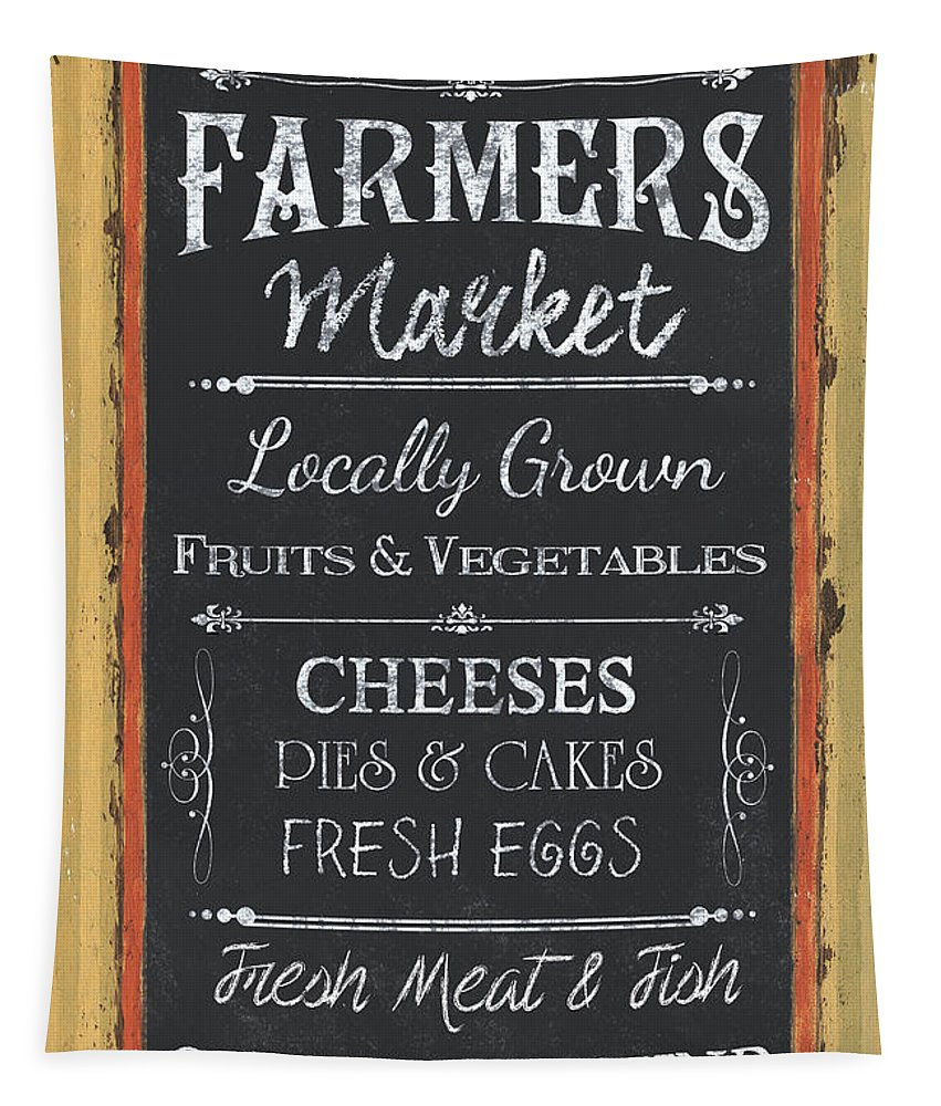 Farm Tapestry featuring the painting Farmer's Market Signs by Debbie DeWitt