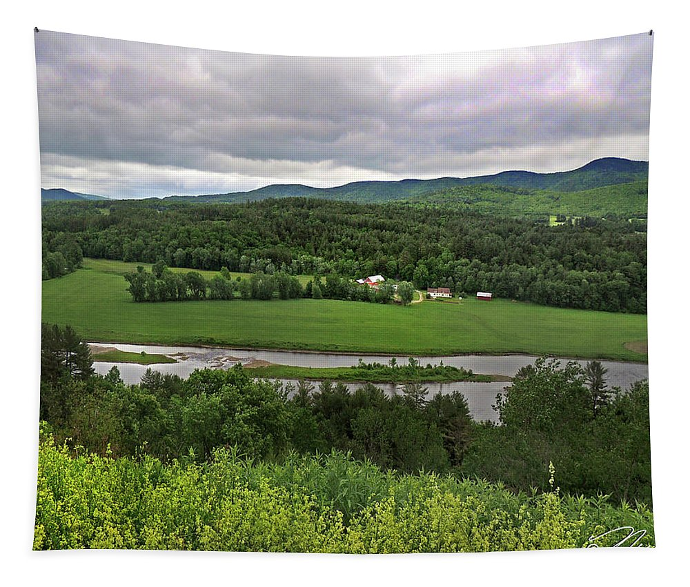 Connecticut River Valley Tapestry featuring the photograph Farmland View Over The Connecticut River by Nancy Griswold